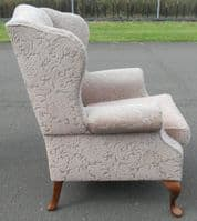 SOLD - Upholstered Wing Fireside Armchair